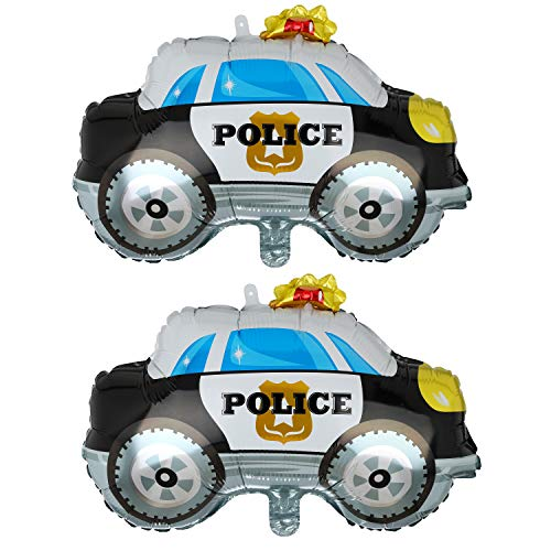 2 Pcs Police Car Shape Super Big Foil Balloon Birthday Party Decorations Supplies -