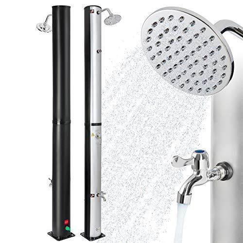 Arebos Douche op zonne-energie   40 liter   regelbare watertemperatuur tot 60 graden   met voetdouche   met thermometer
