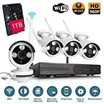 VOYAGEA 1280960P HD 4CH Wireless monitoring 4 Channel 960P Wifi NVR CCTV Surveillance 1.3MP Outdoor Security Network Camera Support Motion Detection 1TB hard drive A7