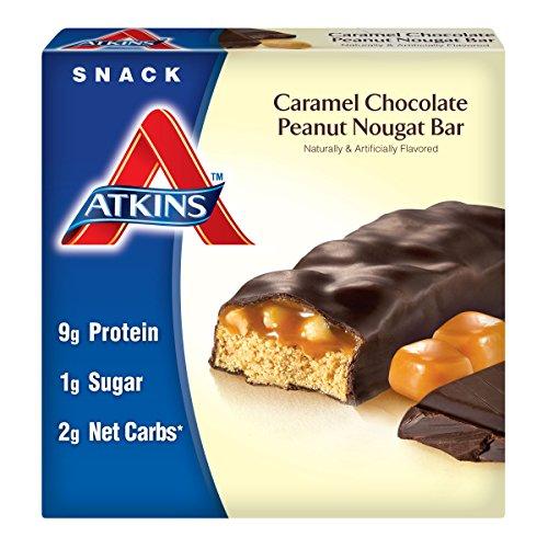 Chocolate Peanut Nougat (Atkins Snack Bars, Caramel Chocolate Peanut Nougat, 1.6oz Bars, 5)