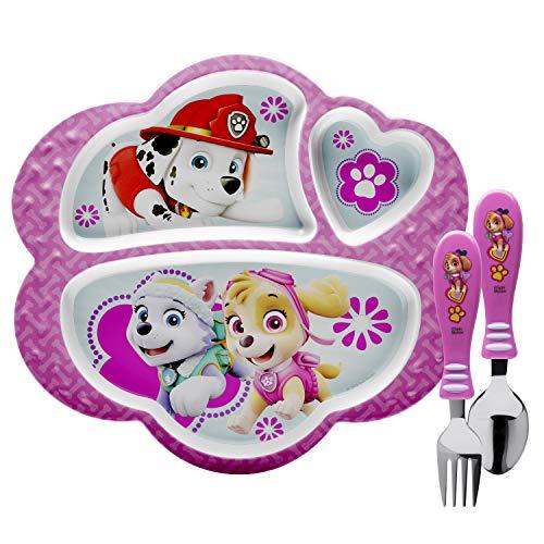 Zak Designs PWPE-2072-AMZ Nick Jr. Kids Dinnerware Sets Plate + Flatware Paw Patrol Girl 3pc