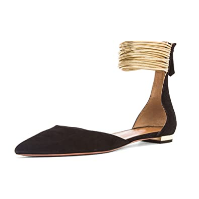 0db92a4a3b5a6 LIGHTBACK Ankle Straps Gladiator Sandals Pointed toe Women Flats Fashion  Shoes