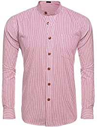 Men's Slim Fit Striped Banded Collar Dress Shirt Casual Long Sleeve Button Down Shirt