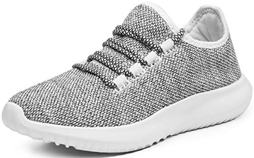 eslla Women's Fashion Sneakers Casual Fitness Walking Shoes,Grey,8 M US