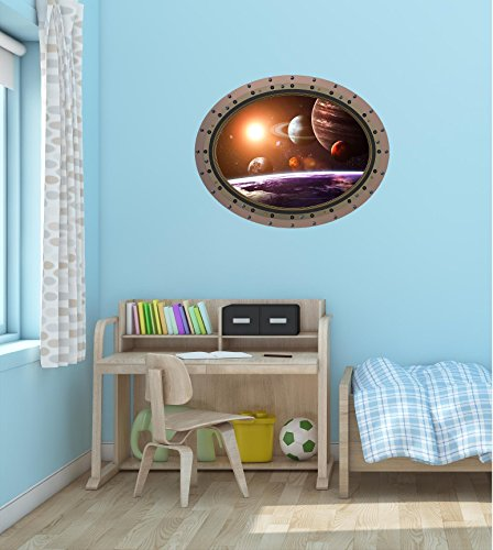 36'' Porthole Instant Space Window View SOLAR SYSTEM #1 OVAL rivets Wall Decal Home Kids Sticker Game Room Art Decor Graphic LARGE by Decal up the Wall Graphics