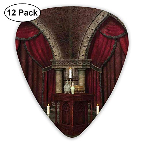 (Guitar Picks 12-Pack,Mysterious Dark Room In Castle Ancient Pillars Candles Spiritual Atmosphere Pattern)