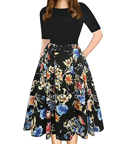 Women's Party 1 Swing Short Sleeve Dress Stitching Vintage Slim Midi Domple Floral dw0OdH