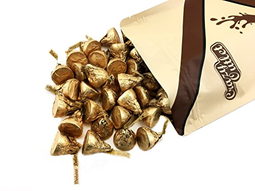 CrazyOutlet Hershey's Kisses Milk Chocolate Whole Roasted Hazelnut Deluxe Gold Wrapping, 2 Pounds Bag -
