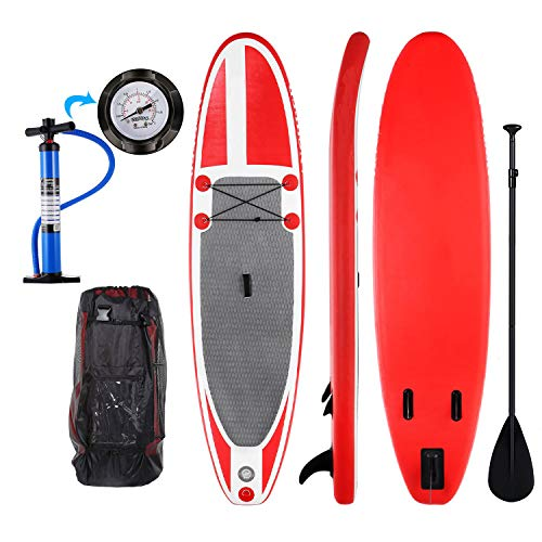 shaofu 10ft Inflatable Stand Up Paddle Board ISUP Board with Adjustable Paddle and Dual Action Pump, Travel Backpack (Red_no Leash_Double Layer PVC)