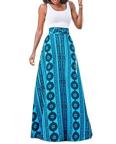 VIGVOG Women's Bohemian Sage Floral Print Pull-On Maxi Flowy A-Line Skirt (L, Blue) (Halloween Night Out Pics)