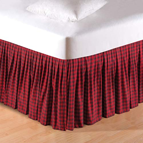 1 Piece Red Black Plaid Pattern Bed Skirt King Size 16-Inch Drop, Luxurious Classic Gingham Checkered Design Ruffled Bed Valance, Casual Rustic Cabin Style Bedskirt, Vibrant Colors, Ultra-Soft Cotton
