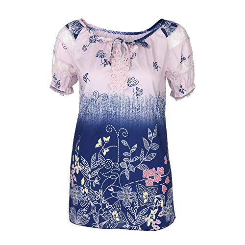 Women Short Sleeve V-Neck Lace Printed Lace Tops Loose T-Shirt Blouse(5XL, Z_Pink) -