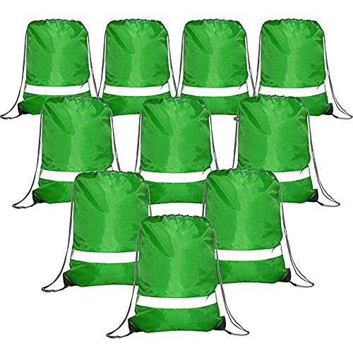 Green-Drawstrings-Backpack-Bags Reflective Bulk Pack, Cheap Sports Gym Sack String Backpacks Cinch Bag ()