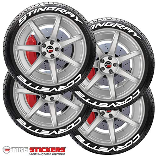 Tire Stickers Corvette Stingray Permanent Tire Lettering Kit with Glue - Custom Sizing & Colors (Pack of 8)