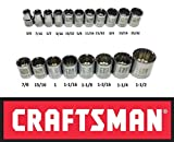 Craftsman Laser Etched Easy Read 19 Piece SAE Standard 1/2'' Drive 12 Point Shallow Socket Set