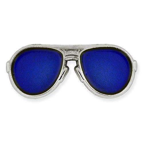 50a11117c2 pinmart de moda plateado y azul lentes Aviators gafas de sol esmalte Pin de  solapa: Amazon.es: Joyería