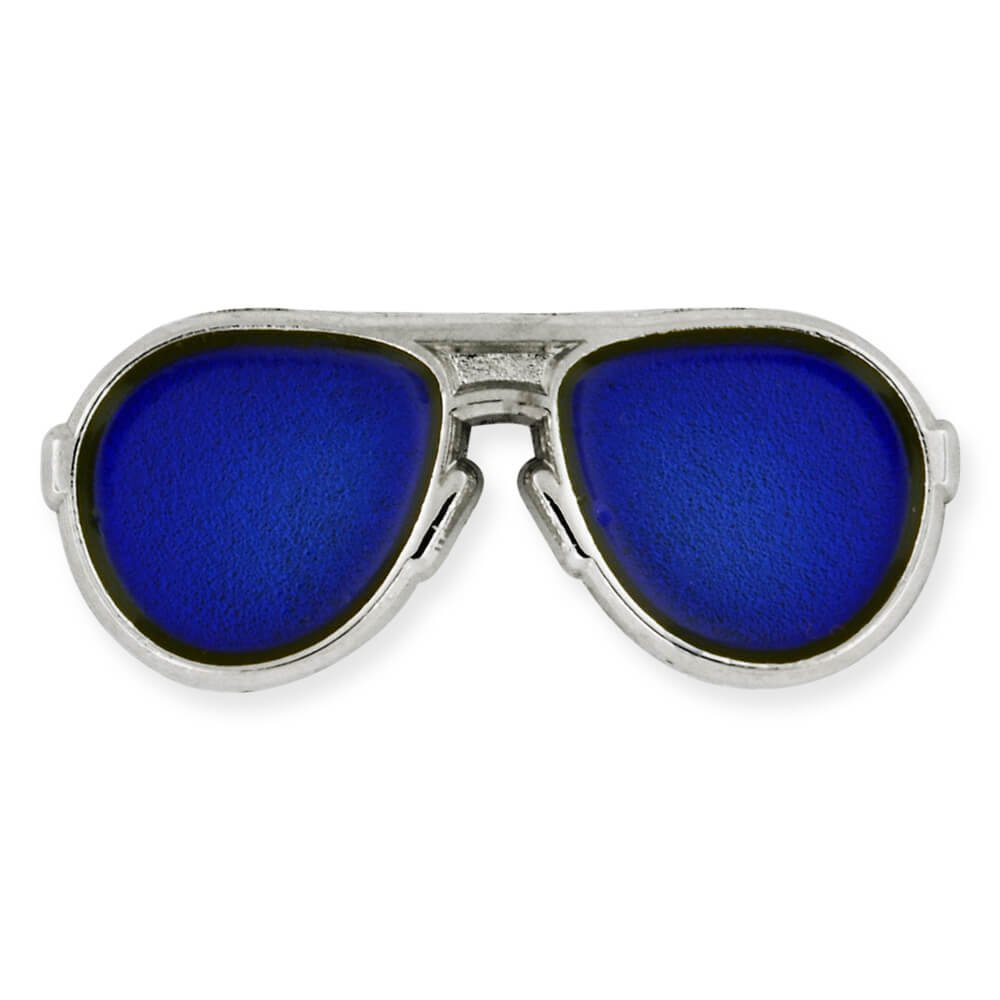 PinMart's Trendy Silver and Blue Lenses Aviators Sunglasses Enamel Lapel Pin
