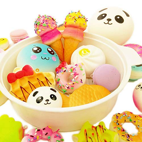 R.FLOWER 10PCS Random Jumbo Soft Squishy Cream Scented Slow Rising Kawaii Simulation Bread Children Toy Medium Mini Squishies Cake/Panda/Bread/Buns Phone Straps ()