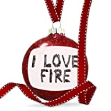 Christmas Decoration I Love Fire Coal Grill Fire Place Ornament