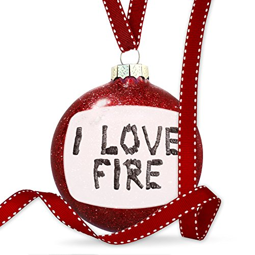 Christmas Decoration I Love Fire Coal Grill Fire Place Ornament by NEONBLOND