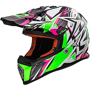 Casco Moto Cross Enduro LS2 MX437 Fast STRONG blanco verde Small