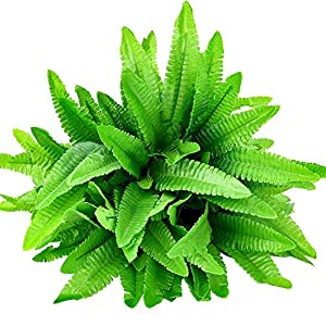 Hicarer 6 Bunches Artificial Boston Ferns Plants 21 Leaves Per Bunch Fake Bushes for Indoor Outside Home Garden Wedding Party Decor 89