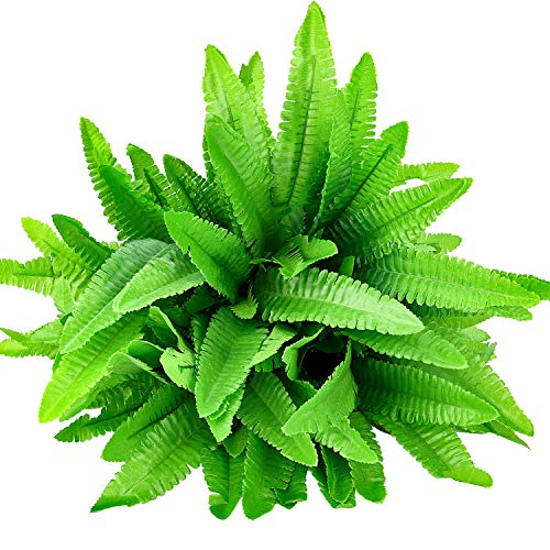 Hicarer 6 Bunches Artificial Boston Ferns Plants 21 Leaves Per Bunch Fake Bushes for Indoor Outside Home Garden Wedding Party Decor