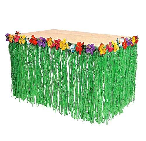 Hawaiian Luau Hibiscus Table Skirt Natural Color Table Hula Grass Skirt for Luau Tropical Hawaiian Party Decoration (Table Skirt Flowered)