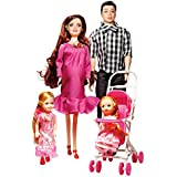 Elatany Family Dolls Set of 5 with Dad Pregnant Mommy Daughters and Baby in Tummy for Age over 3 Years
