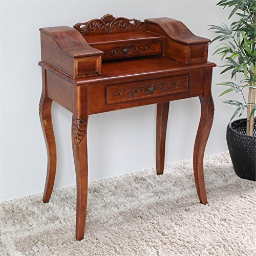 International Caravan Hand Curved Wood Victorian Telephone Table