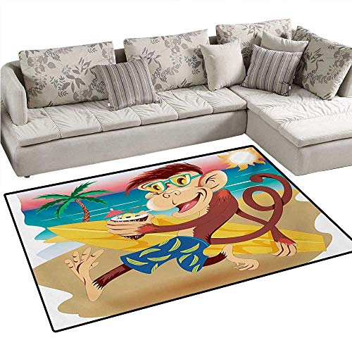 Tropical Animals Anti-Static Area Rugs Hipster Monkey with S