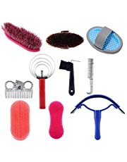 horse grooming kit with brushes, Yosoo Horse Grooming Kit, Horse Cleaning Tool Application Horseback Care Horse Brush Curry Comb Sweat Scraper Comb Grooming Riding Equipment for Beginners