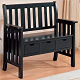 Coaster Cottage Style Wooden Chair Bench with Storage Drawer, Black Review