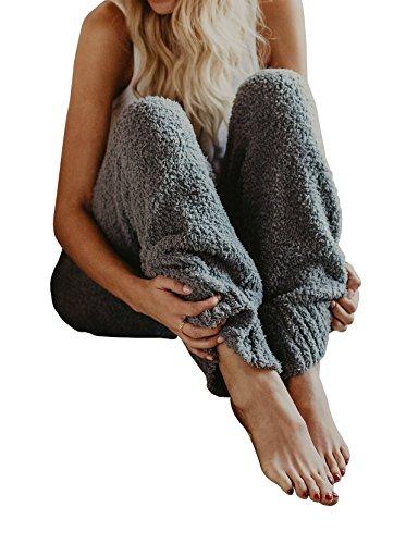 Super Soft Fleece Pants (Nulibenna Womens Knitted Casual Soft Sleep Lounge Pants Loose Fluffy Fuzzy Pajama Pants)