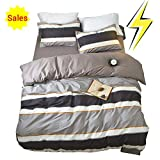 ORoa Cotton Striped Boys Twin Duvet Cover Sets Multi Color 3 Piece Bedding Sets Twin for Teen Man Kids with 2 Pillow Shams (Twin, Style 1)