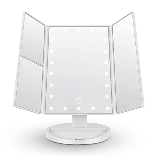 DWORY Led Lighted Makeup Vanity Mirror - 180 Degree Rotation USB Charging or Battery Supply - 2X/3X Magnifying Desk Mirror with Lights - Compact Travel Design Larger 24 LED Lights