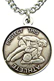 Sterling Silver Saint St Christopher Wrestling Sports Athlete Medal Pendant, 15/16 Inch
