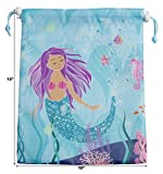 BeeGreen Mermaid Party Supplies Bags for Kids Girls Boys,10 Pack Goody Drawstring Pouch for Party Favors