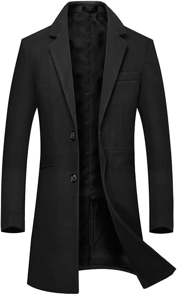 Sliktaa Manteau Laine Homme Long Trench Coat Hivers Chaud Slim Manches Longues Affaires Casual A La Mode Epais Couleur Unie Simple Boutonnage