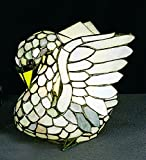 Tiffany Style Stained Glass Swan Accent Table Lamp