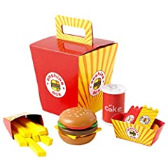 Features: Fast food burgers play food assortment ,high-quality wooden fast food set. Container of wooden food items is made of cardboard as flimsy as an actual happy meal box.and holders are paper,Sturdy outer box,good gift for 3 year old and...