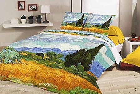 Copripiumino Van Gogh.Deco Italia Set Copripiumino Copriletto Van Gogh Campo Di Grano