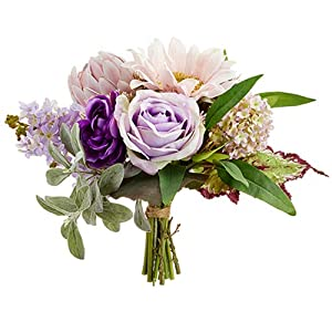 "11"" Rose, Sunflower & Protea Silk Flower Bouquet -Pink/Lavender (Pack of 4) 103"