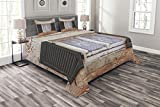 Lunarable Country Bedspread Set Queen Size, Mediterranean Aged Cottage with Antique Window Shutters in Greece Island Image, Decorative Quilted 3 Piece Coverlet Set with 2 Pillow Shams, Grey Green