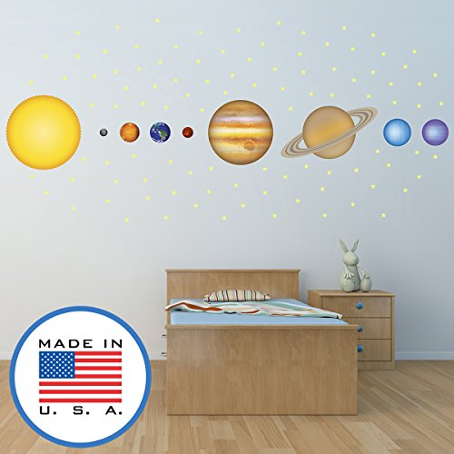 WallClipz Solar System Planets and FABRIC Wall Decals - Room Decor Stickers, Kids Science Astronomy Outer Space Nursey - Removable - Made in the USA, Large by WallClipz