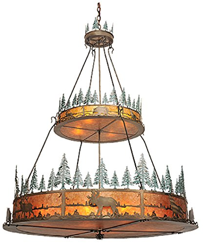 Meyda Tiffany 99767 Wildlife at Pine lake Collection 12-Light 2-Tier Inverted Pendant, Antique Copper Finish with Amber Mica (Green Mica Shade)