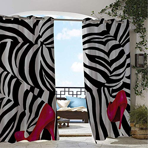 Linhomedecor Gazebo Waterproof Curtains Optical Illusion High Heels Bottom Multicolor doorways Grommet Party Curtain 108 by 96 inch