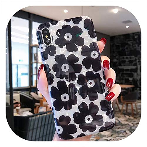 for iPhone X 7 8 6 Plus Retro Flowers Phone Case for iPhone 6 6S Plus Xs XR XS Max Conch Shell Soft IMD Back Cover Cases,Flower,for iPhone Xs