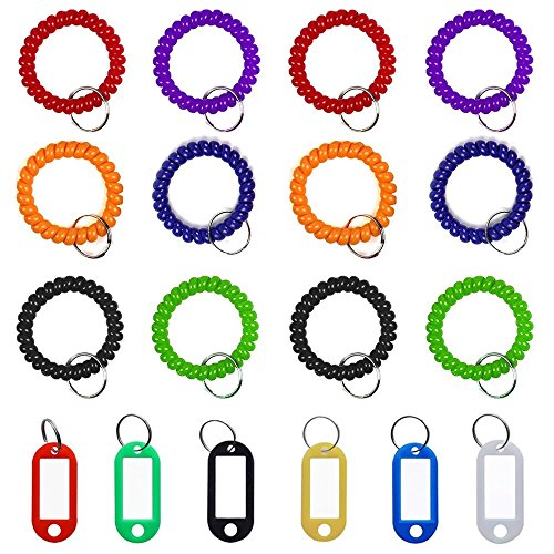 12 pcs Wristband Keychains & 6 pcs Key Tags, SENHAI Plastic Coil Stretch Elastic Spring Spiral Bracelet Key Ring for Gym Pool ID Badge, Plastic ID Tags with Label Window for Keychain Pet Luggage Bag