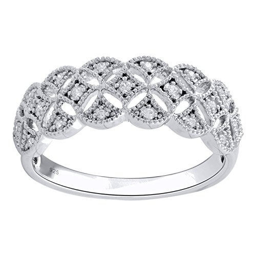 Sterling Silver 1/10cttw Diamond Anniversary Band